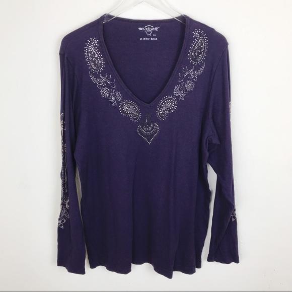54ce1909b49 Sledge Purple Rhinestone Paisley Long Sleeve Top